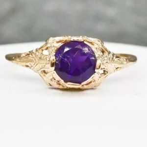 Jewelry - Genuine 💜 Amethyst 14k rose gold/sterling ring